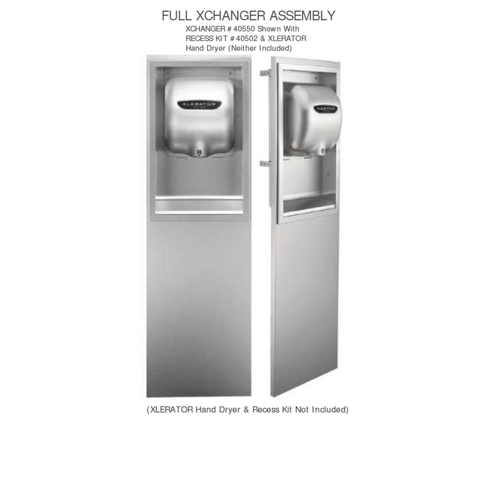 40550, Excel XLERATOR Stainless Steel (Std. Height) XChanger Only (40502 ADA Compliant Recess Kit NOT INCLUDED) - Allied Hand Dryer