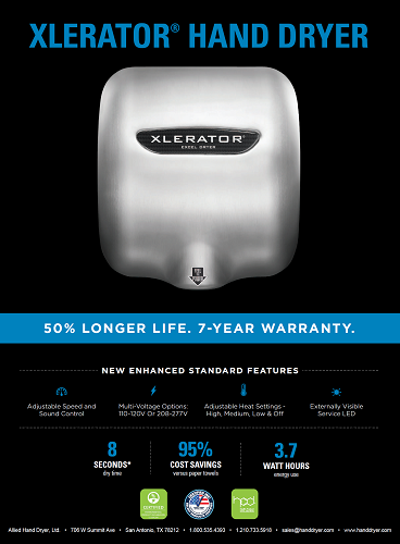 XL-SB, XLERATOR Excel Dryer Brushed Stainless Steel-Our Hand Dryer Manufacturers-Excel-110-120 Volt-Allied Hand Dryer