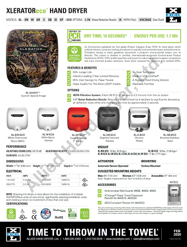 XL-SI-ECO, XLERATOReco Excel Dryer (No Heat) - Custom Image Covers on Zinc Alloy - Personalize It!-Excel-Allied Hand Dryer