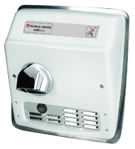 XRM5-Q974, AirMax World Dryer Automatic, Recessed, Cast Iron, White-Our Hand Dryer Manufacturers-World Dryer-110/120 volt - 20 amp RECESS AUTO AIRMAX hard wired-Allied Hand Dryer