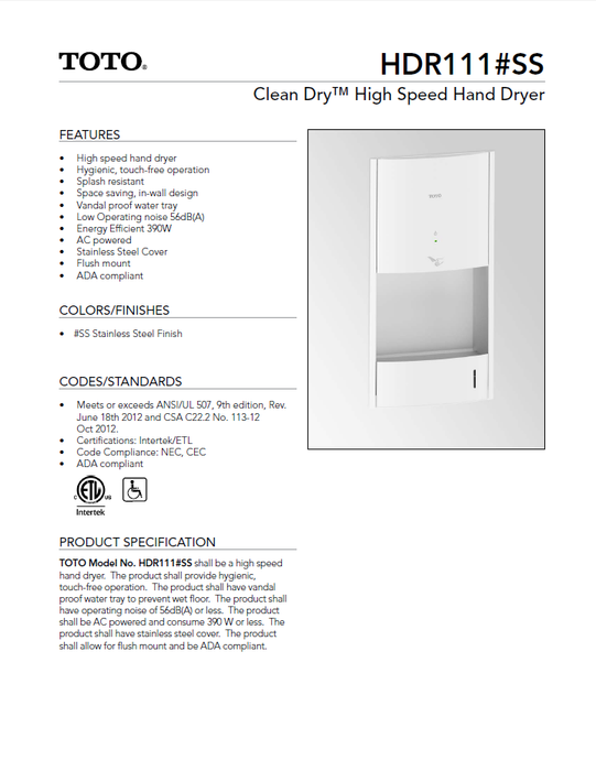 HDR111#SS, TOTO Hand Dryers Clean Dry Concealed (Recessed) Stainless Steel Automatic High Speed (Replaces the Discontinued TOTO HDR110#SS)-Toto Hand Dryers-Allied Hand Dryer