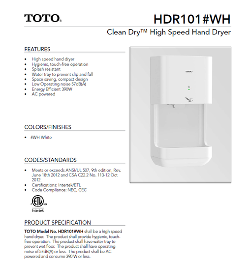HDR101#WH, TOTO Clean Dry White Automatic High Speed - Allied Hand Dryer
