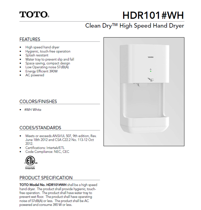HDR101#WH, TOTO Clean Dry White Automatic High Speed