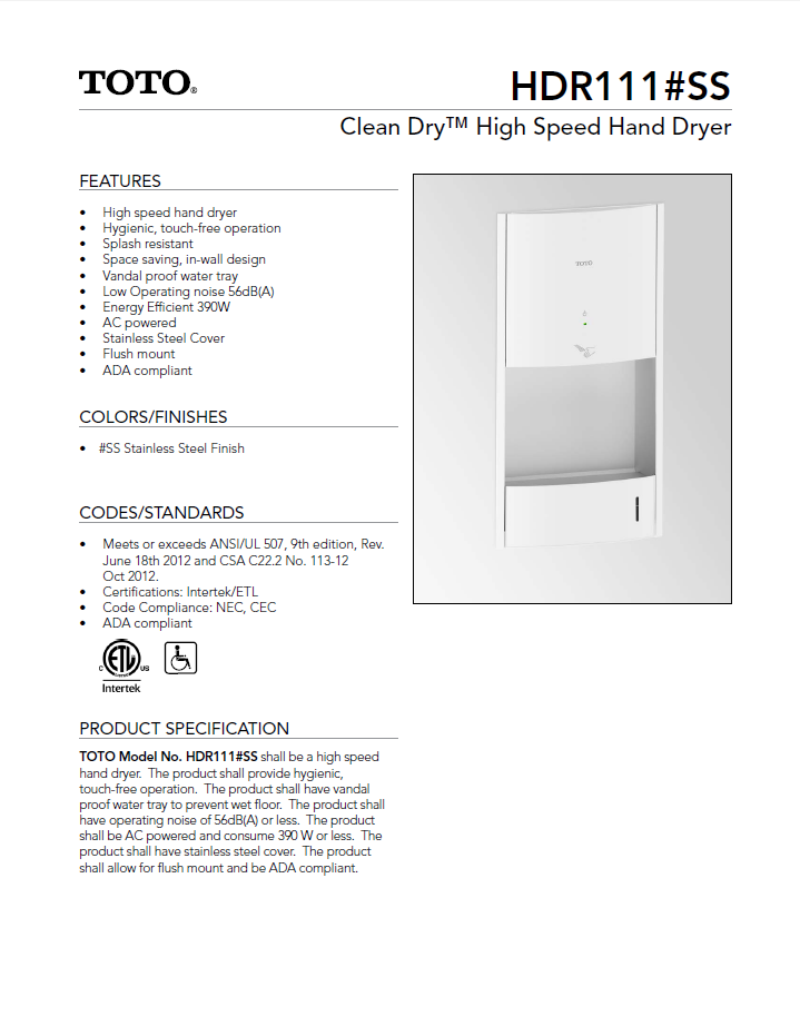 Get the Best From Toto Hand Dryers with the HDR111#SS — Allied Hand ...