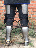 Titanium legs set with golden decoration