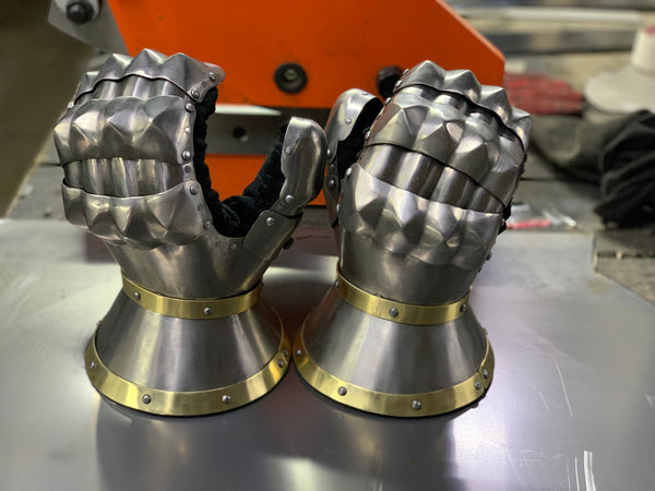 "Titanium gloves ""Taurus"" with golden decoration"