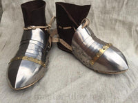 Titanium sabatons with leather boots (fixed construction)