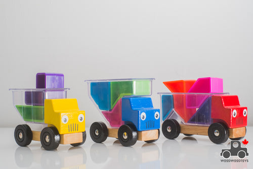 Set of Three Trucks with Geometric Blocks