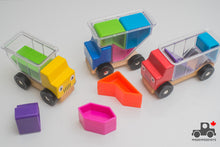 Load image into Gallery viewer, Set of Three Trucks with Geometric Blocks