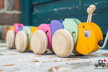 Load image into Gallery viewer, ABAfactory Pull-along Caterpillar - Wood Wood Toys Canada's Favourite Montessori Toy Store