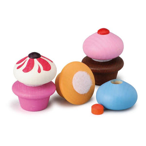 Assorted Wooden Cupcakes (Set of 3) - Play Food Made in Germany - Wood Wood Toys Canada's Favourite Montessori Toy Store