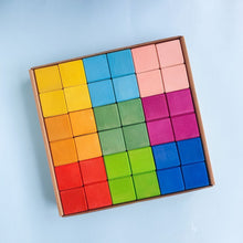 Load image into Gallery viewer, Avdar Classic Cube Blocks (Rainbow/Pastel) - Wood Wood Toys Canada's Favourite Montessori Toy Store