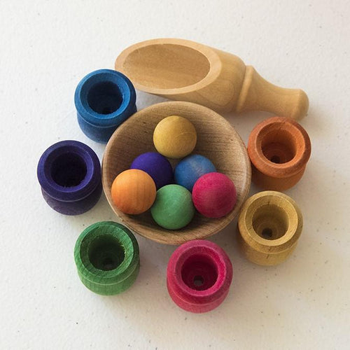 Bean Pot and Ball Cylinder Sorting Set by Legacy Learning Academy - Wood Wood Toys Canada's Favourite Montessori Toy Store