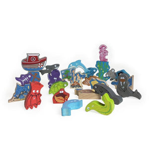 BeginAgain Toys Ocean A-to-Z Puzzle and Playset - Wood Wood Toys Canada's Favourite Montessori Toy Store