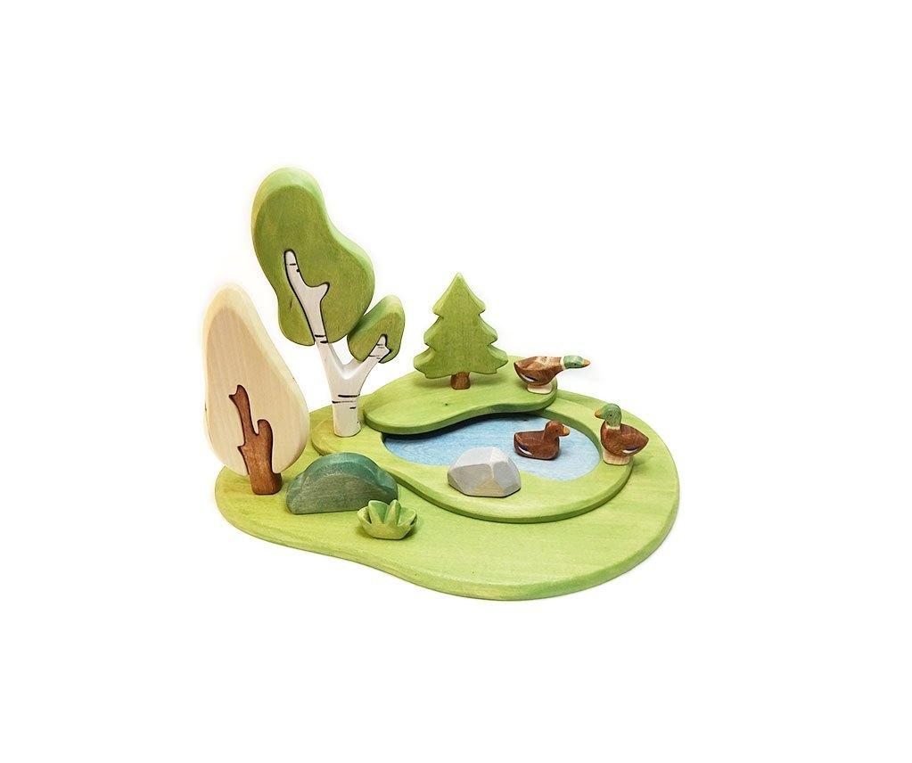 Brin d'Ours Handmade Green Pond (Small World Scenery) - Wood Wood Toys Canada's Favourite Montessori Toy Store