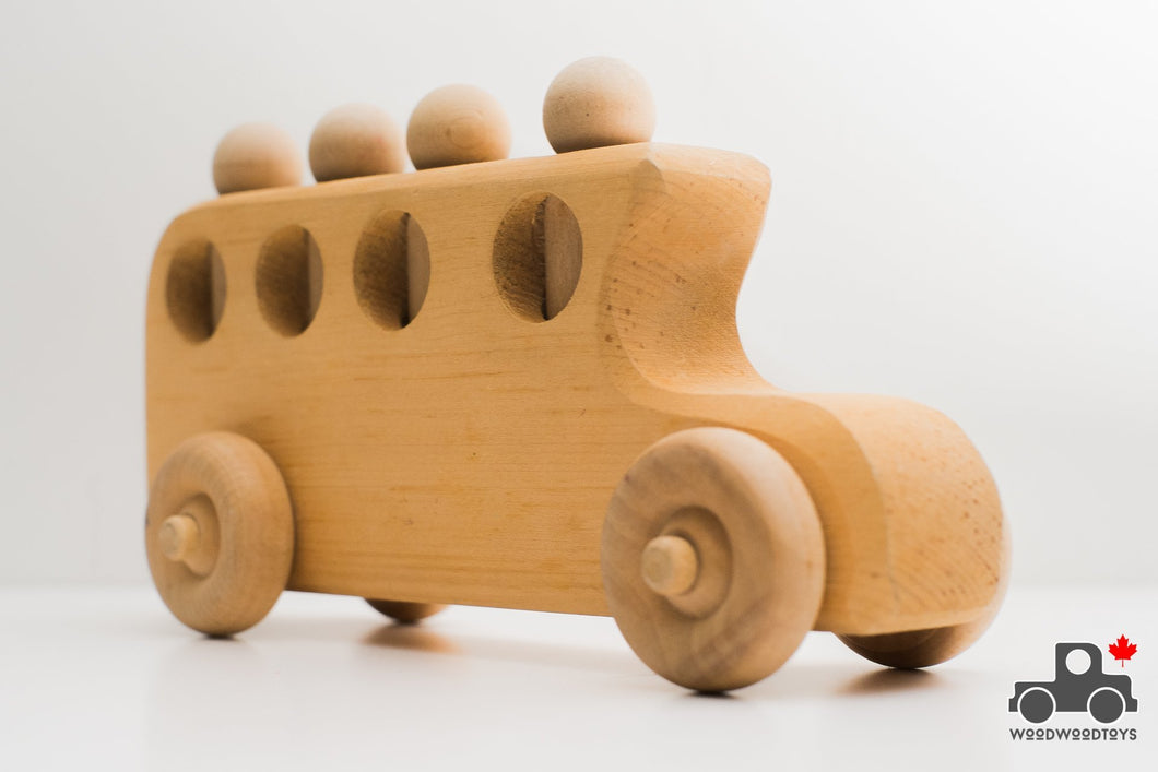 Canadian Handmade Wooden Bus with Four Peg People - Wood Wood Toys Canada's Favourite Montessori Toy Store