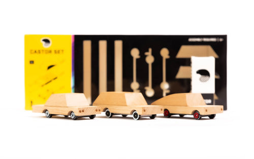 Candylab Toys Castor Set - Modern Vintage DIY Model Car Kit - Wood Wood Toys Canada's Favourite Montessori Toy Store