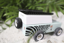 Load image into Gallery viewer, Candylab Toys Drifter Zebra- Modern Vintage Adventure Vehicle - Wood Wood Toys Canada's Favourite Montessori Toy Store