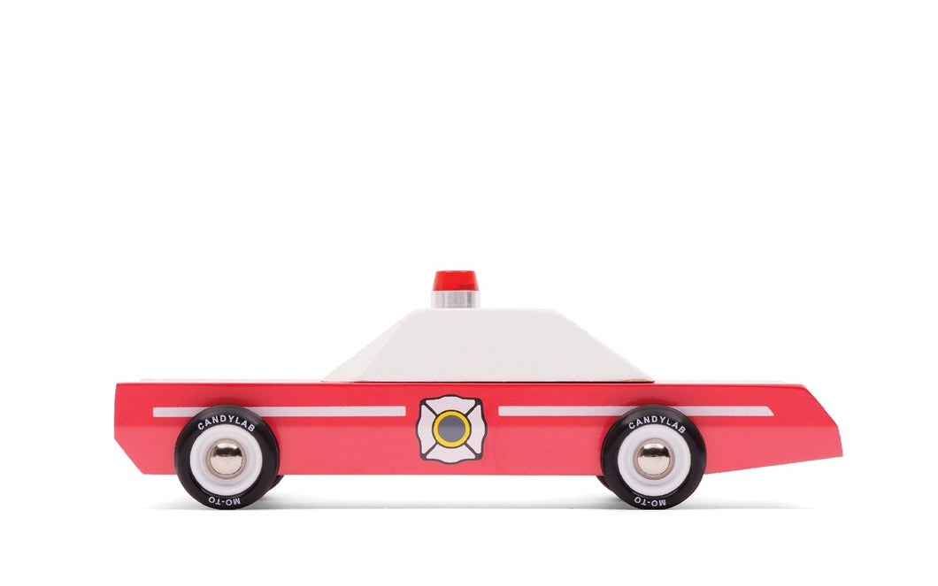 Candylab Toys Fire Chief - Modern Vintage Emergency Vehicle - Wood Wood Toys Canada's Favourite Montessori Toy Store
