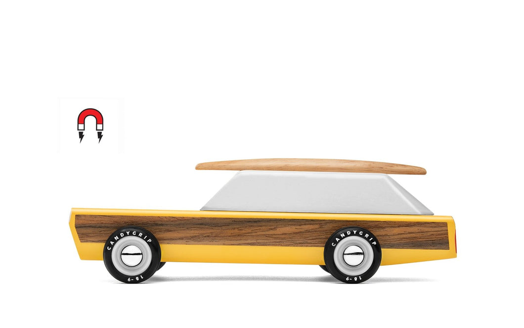 Candylab Toys Woodie with Surfboard - Modern Vintage Station Wagon - Wood Wood Toys Canada's Favourite Montessori Toy Store