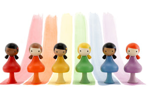 CLiCQUES Magnetic Figurines - RAINBOW Set (Ebony, Maya, Yui, Alice, Jasmine & Lizzie) - Wood Wood Toys Canada's Favourite Montessori Toy Store