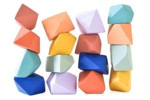 Confetti Rock Blocks (Set of 16) - Wood Wood Toys Canada's Favourite Montessori Toy Store