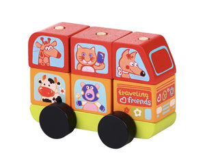 Cubika Friendly Bus Wooden Construction Set - Wood Wood Toys Canada's Favourite Montessori Toy Store