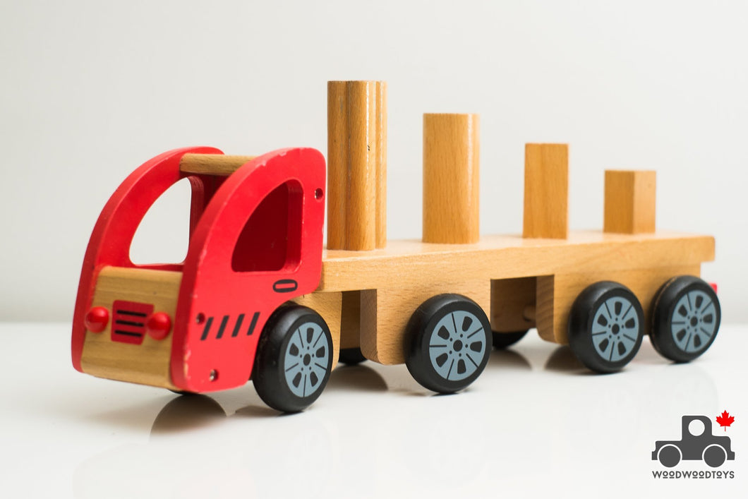 Discoveroo Sort n' Stack Truck - Wood Wood Toys Canada's Favourite Montessori Toy Store