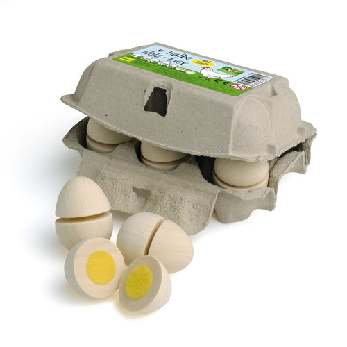 Erzi Eggs to Cut (Six Pack) - Play Food Made in Germany - Wood Wood Toys Canada's Favourite Montessori Toy Store