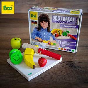 Erzi Fruit Salad Cutting Set - Play Food Made in Germany - Wood Wood Toys Canada's Favourite Montessori Toy Store