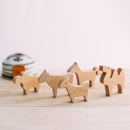 Five Wooden Animals by Avdar - Wood Wood Toys Canada's Favourite Montessori Toy Store