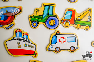 Fun Factory Wooden Vehicle Magnet Set (15 Pieces) - Wood Wood Toys Canada's Favourite Montessori Toy Store