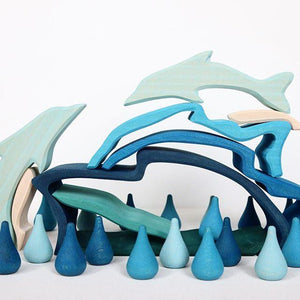 Gluckskafer - 9 Piece Dolphin Puzzle Stacker - Wood Wood Toys Canada's Favourite Montessori Toy Store