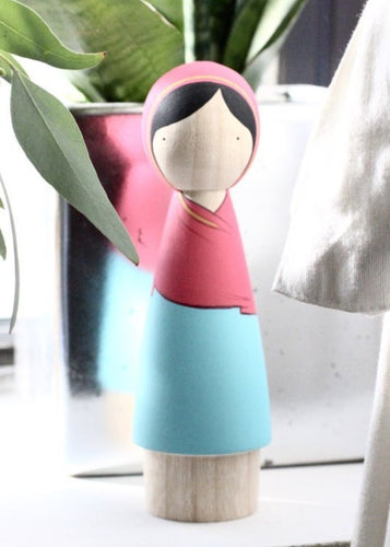 Goose Grease Wooden Peg Dolls - Malala - Wood Wood Toys Canada's Favourite Montessori Toy Store