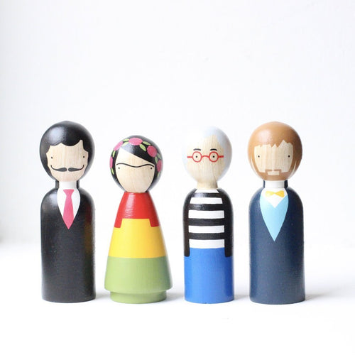 Goose Grease Wooden Peg Dolls - The Modern Artists - Wood Wood Toys Canada's Favourite Montessori Toy Store