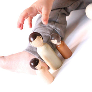 Goose Grease Wooden Peg Dolls - The Organic Family - Wood Wood Toys Canada's Favourite Montessori Toy Store