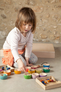 Grapat Wood Coloured Bowls (12 Pieces) - Wood Wood Toys Canada's Favourite Montessori Toy Store