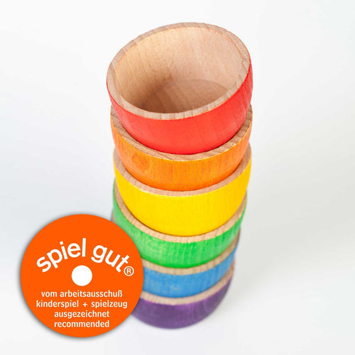 Grapat Wood Coloured Bowls (6 Pieces) - Wood Wood Toys Canada's Favourite Montessori Toy Store
