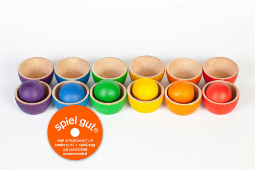 Grapat Wood Coloured Bowls and Balls - Wood Wood Toys Canada's Favourite Montessori Toy Store