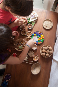 Grapat Wood Coloured Bowls and Marbles with Tongs - Wood Wood Toys Canada's Favourite Montessori Toy Store