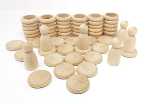 Grapat Wood Coloured Nins, Rings and Coins (Natural Wood) - Wood Wood Toys Canada's Favourite Montessori Toy Store