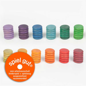 Grapat Wood Coloured Rainbow Coins (72 Pieces) - Wood Wood Toys Canada's Favourite Montessori Toy Store