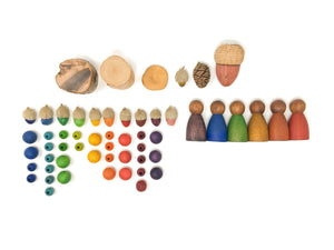 Grapat Wood Nins (3 Pieces) Dark Cold Colour - Wood Wood Toys Canada's Favourite Montessori Toy Store