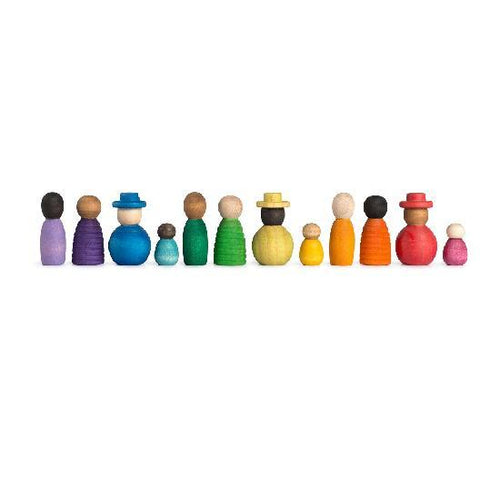 Grapat Wood Together Coloured Nins 12pcs - Wood Wood Toys Canada's Favourite Montessori Toy Store