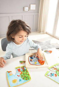 HABA 4 in 1 Wooden Puzzle My Time of The Year - Wood Wood Toys Canada's Favourite Montessori Toy Store