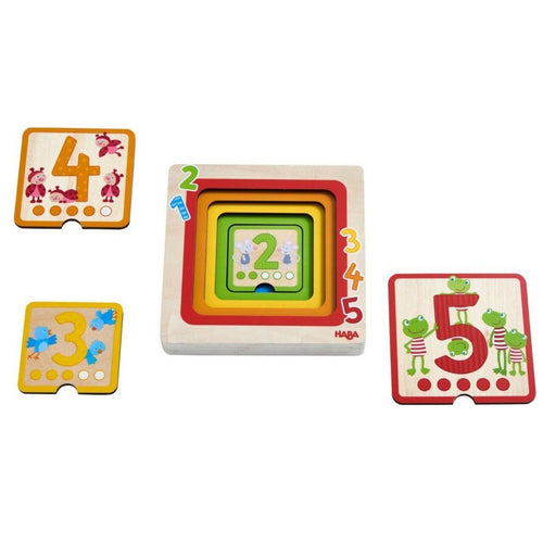 HABA Counting Friends Wood Layering Puzzle 1 to 5 - Wood Wood Toys Canada's Favourite Montessori Toy Store