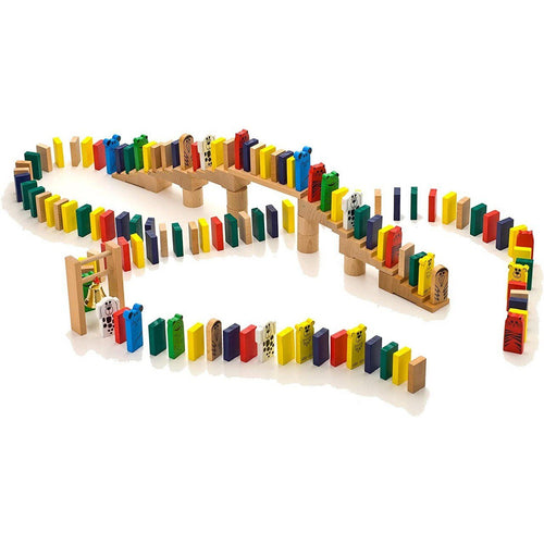 HABA Go-Go Dominoes Wooden Chain Reaction Set - Wood Wood Toys Canada's Favourite Montessori Toy Store