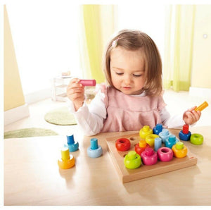 HABA Rainbow Whirls Pegging Game - Wood Wood Toys Canada's Favourite Montessori Toy Store