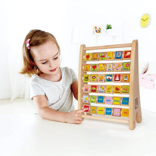 Hape Alphabet Abacus Wooden Counting Toy - Wood Wood Toys Canada's Favourite Montessori Toy Store