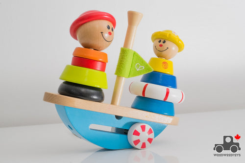 Hape Early Explorer - Balance Boat Wooden Stacking Toy - Wood Wood Toys Canada's Favourite Montessori Toy Store